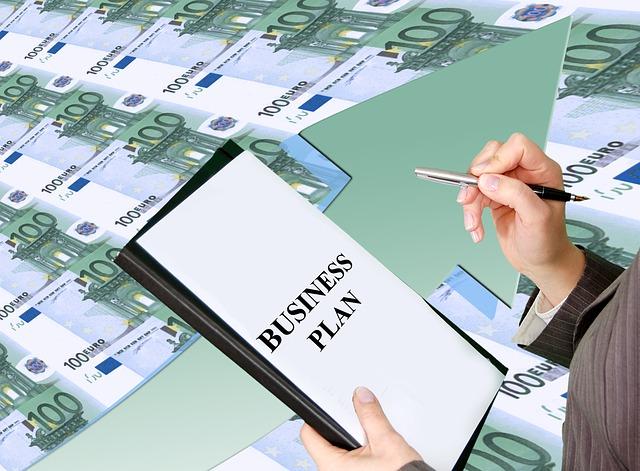 obchodní plán, euro bankovky
